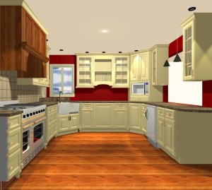 C.A.D. drawing of possibilities for the existing kitchen