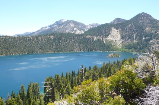 Emerald Bay with Mt Tallac in the distance.
