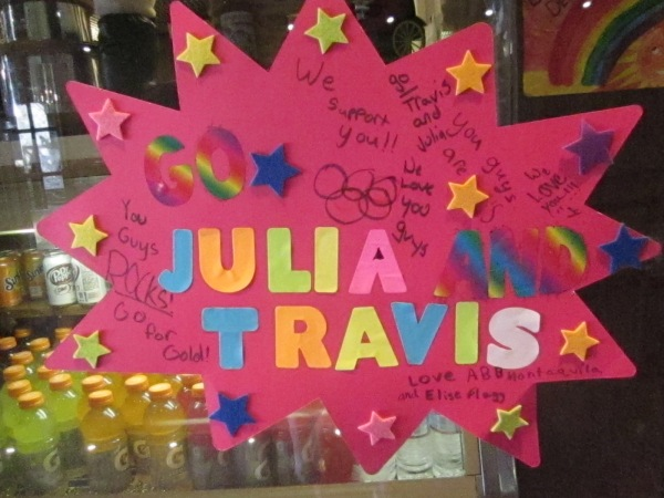 Sign at Squaw Valley made by some of the local kids congratulating local skiers Julia Mancuso and Travis Ganong.