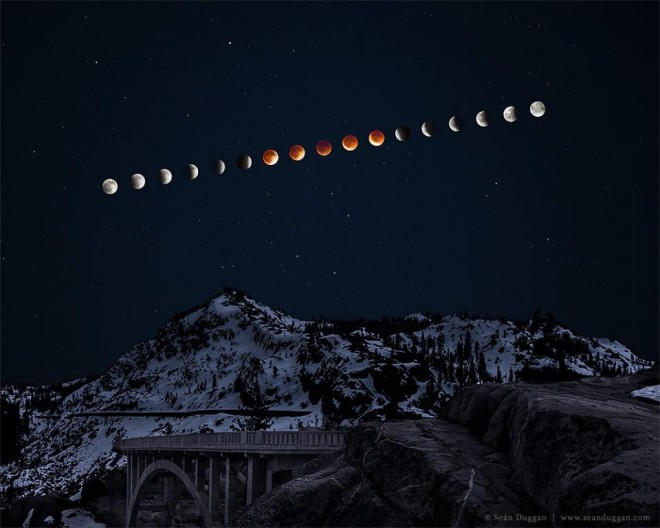 "Photo by Sean Duggan.  ""Lunar Eclipse Over Donner Peak"" Here's my eclipse sequence composite that I photographed a couple of nights ago. This is what I had in mind when I set out to shoot the eclipse (though the Donner Summit location was a last minute decision) and I'm pretty pleased with how it came out. I'm working on a more detailed description of the planning and process that will be available next week. **4-21-14..Print Update: For all who have inquired about purchasing a print of this image, here is a link where you can do just that. Available in a variety of sizes as photographic prints, giclée watercolor prints, canvas prints and metal prints: http://seanduggan.smugmug.com/Lunar-Eclipse-Over-Donner-Peak/"