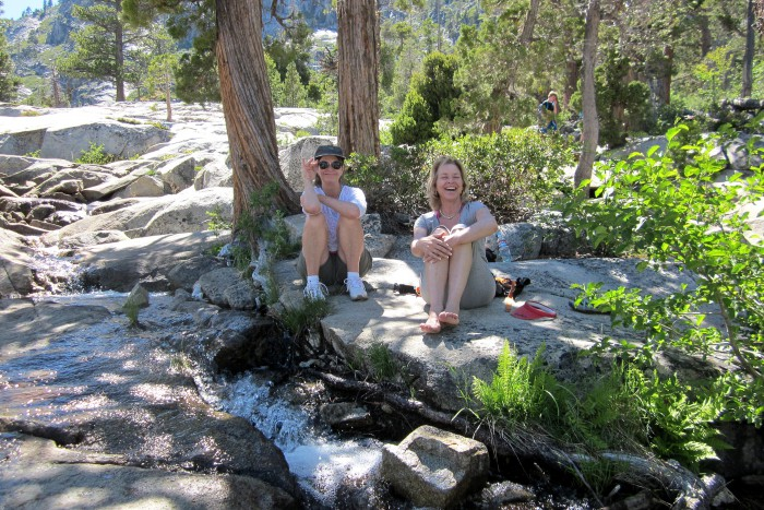 Two of our AAUW Gourmet Group Gals relax along Cascade Creek. (Photo by Michelle Portesi)