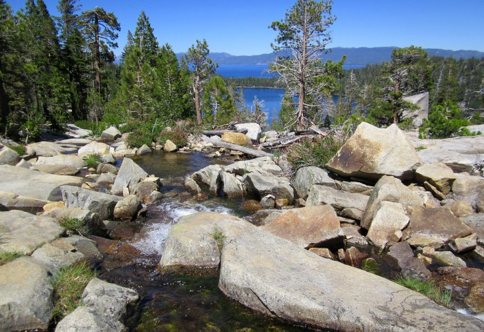Cascade Falls along the Bayview Trail, with Cascade Lake and Lake Tahoe seen in the distance. (Photo by Michelle Portesi)