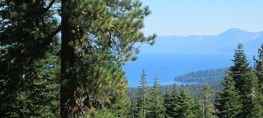 Scenic view high above Lake Tahoe along the Fiberboard Freeway