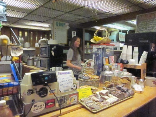 Caitlin works the register at Dave's Deli