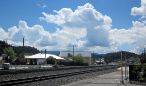 View of train tracks towards Donner Summit