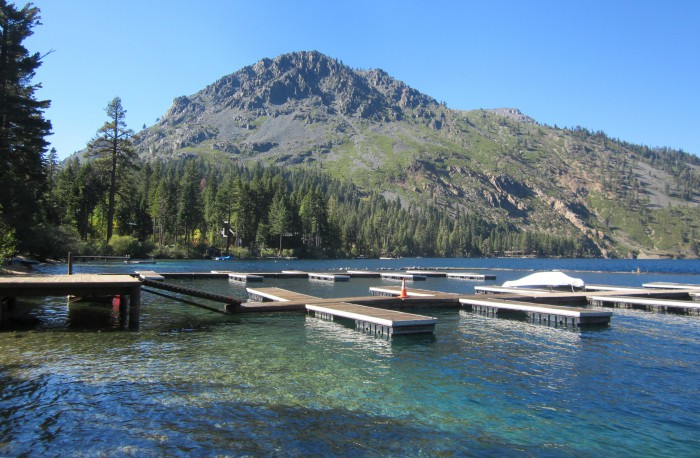 Boat docks at Fallen Leaf Lake