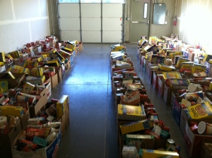 Boxes filled with food for families